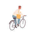 young cheerful man riding bicycle modern adult vector image vector image