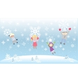 Kids Children Playiong Snow flakes Snowflakes vector image