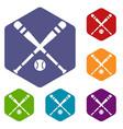 baseball bat and ball icons set vector image vector image