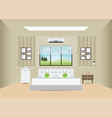 bedroom with double bed and furniture vector image vector image