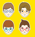Boy Hair Style Sticker Set vector image vector image