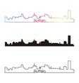 Buffalo skyline linear style with rainbow vector image vector image