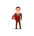 business man businessman stand and holds a folder vector image vector image