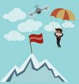 businessman parachuting to success vector image vector image