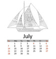 calendar july month 2019 antistress coloring vector image vector image