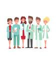 cartoon woman man medical characters profile vector image vector image