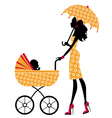 Chick mom with pram vector image vector image