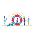 colleagues help each other - flat design style vector image