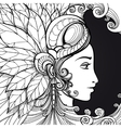 Coloring zentangle woman face on black vector image vector image