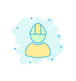 construction worker icon in comic style factory vector image
