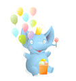 cute baby elephant cartoon for kids celebrating vector image vector image