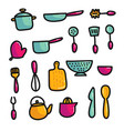 doodle cartoon kitchen elements vector image vector image