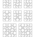 eight different white puzzles vector image