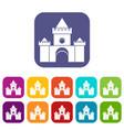 fairytale castle icons set vector image vector image