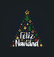 feliz navidad handwritten phrasetranslated from vector image