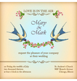 Floral wedding invitation card with flowers birds vector image vector image