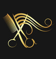 hairdressing scissors and comb with hair vector image vector image