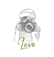Hand drawn girl holding photocamera with lettering vector image vector image