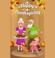 happy grandparents and girl with baked turkey vector image