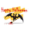happy halloween emblem with cute bat vector image vector image