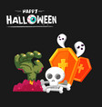 happy halloween monster hand skull gravestone back vector image