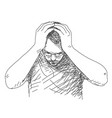 holding head vector image