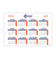 horizontal calendar 2019 in spanish week starts vector image vector image