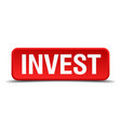 invest red 3d square button on white background vector image vector image