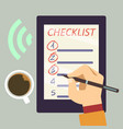 journal with checklist - organize vector image vector image