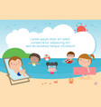 kids on the beach children playing on the beach vector image vector image