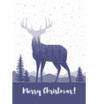 marry christmas cards design silhouette of a deer vector image vector image