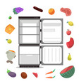 open empty fridge with healthy food diet vector image vector image