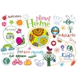 Planet home doodle set vector image