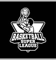 player doing shot in basketball super league vector image vector image
