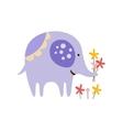 Purple Elephant Picking Flowers vector image vector image