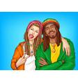 rastafarian subculture people pop art vector image