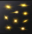 realistic detailed 3d golden star light sparkles vector image vector image