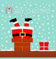 santa claus stuck in chimney on rogift vector image vector image