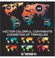 set colored maps world consisting tri vector image vector image