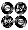 set of music icons in the form of vinyl records vector image vector image