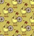 Sketch chiken and dandelion pattern vector image vector image