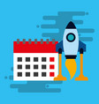 startup rocket with calendar isolated icon vector image vector image