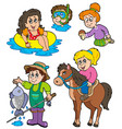 summer kids activities collection vector image