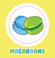 sweet green and blue french macaroon cake biscuit vector image vector image
