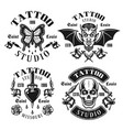 tattoo studio emblems or t shirt prints vector image vector image