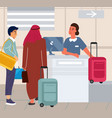 tourists at airport check in luggage travel by vector image vector image