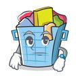waiting laundry basket character cartoon vector image vector image