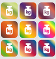 Weight sign icon Nine buttons with bright vector image