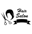 wig and scissors on barber icon vector image vector image