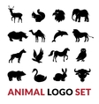 Wild Animals Black Logo Icons Set vector image